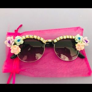 Accessories - Rhinestoned Flowered Boutique Sunglasses